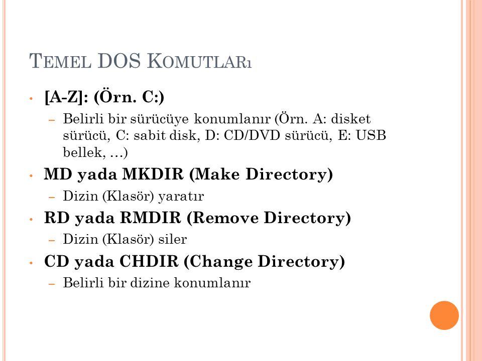 Temel DOS Komutları [A-Z]: (Örn. C:) MD yada MKDIR (Make Directory)